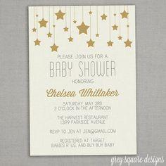 Baby Shower Invitation  Gold Stars by greysquare on Etsy, $12.00
