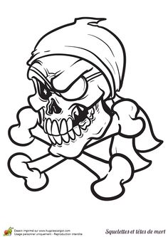 A colorier, une tête de mort pirate avec un bandeau sur l'œil et un bandana