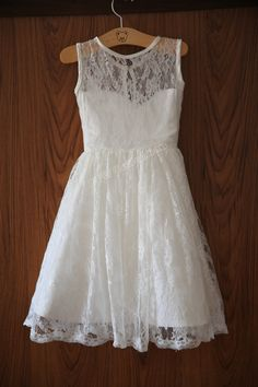 Ivory Lace Flower Girl Dress Sweetheart Neckline Knee by deepado, I could add. Mint colored sash! $42.99