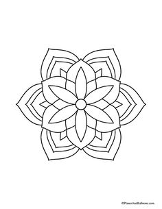 Grab these easy mandala coloring pages today and enjoy a few minutes of uninterrupted relaxing activity! These free mandala coloring pages are perfect for adults and kids alike. Easy Mandala Drawing, Easy Flower Drawings, Mandala Doodle, Simple Mandala, Mandala Tattoo, Easy Drawings, Mandela Drawing, Mandela Art, Coloring Book Art