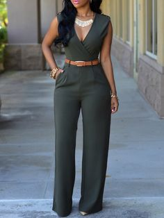 3ace6f95721 Army+Green+Deep+V+Neck+Sleeveless+Loose+Jumpsuit+