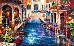 Duvar kağıdı Etiketler: italya su gondol yer sanatı oldukça nehir yansıma köprü evler yaz tekneler boyama güzel romantik güzel kanal güzel çiçekler