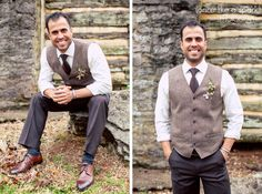 handsome groom, dapper man, vest, browns, boutonniere, wedding florals, rustic charm, southern wedding, wedding ideas, grooms fashion, wedding photography :: James + Elena's Wedding at The Sam Davis Home in Smyrna, TN :: with Christine -- boutonniere by @Beyond Details Nashville