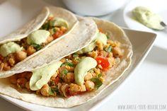 Chickpea tacos with avocado cream