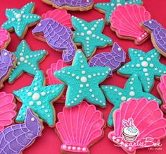 Under the Sea Cookies - Mermaid inspired with pink clams, purple seahorses and turquoise starfish -SmartieBox Cake Studio