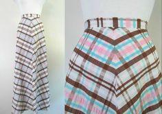 Chevron Plaid Maxi Skirt Vintage 1960s Cotton by rileybellavintage, $30.00