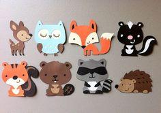 Lot de 8 animaux de la forêt cerf chouette écureuil
