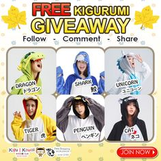 FREE Kigurumi Costume Pajamas Giveaway ♥(˘⌣˘ C) JOIN NOW ► http://on.fb.me/1WBxeAc Get a chance to own one of these limited edition kigurumi from Kigu Kawaii! We are giving away any of these comfortable kigurumi onesies for FREE! Simply follow the mechanics. 1 winner will receive 1 kigurumi of his/her own choice. Contest will run from November 5, 2015 - November 11, 2015. We will announce our winner on our newsletter and social media accounts on November 12, 2015. Good Luck!