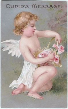 Beautiful Postcard of a Cherub With Basket Of Roses Embossed Victorian Valentines, Vintage Valentines, Love Valentines, Vintage Cards, Vintage Postcards, Vintage Illustration, Valentine's Day Printables, Valentines Greetings, Decoration