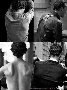 Sherlock's back aesthetic Sherlock Fandom, Benedict Cumberbatch Sherlock, Sherlock John, Sherlock Kiss, British Boys, British Actors, Martin Freeman, Imitation Game, Benedict And Martin