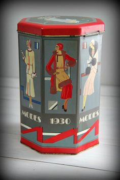 Vintage Modes 1930 Biscuit Tin by AllThisTimeAccents on Etsy, $15.00
