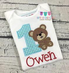 1st Birthday Bear Shirt  Teddy Bear Birthday Shirt by SewSoDarling