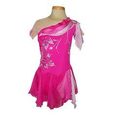 Dumb Light Spandex Elasticated Net Silk Chiffon Figure Skating Clothing Rose – USD $ 80.99
