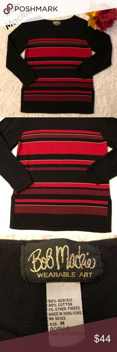 Bob Mackie Sweater In excellent condition. No stains or rips. Has a good amount of stretch. Colors:Black,Gold,Red,Burgundy.  Measurements on pictures above. Any questions pls ask me. Bundle to save and offers are welcome :) Bob Mackie Sweaters