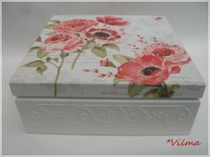. Decoupage Box, Mixed Media Art, Wooden Boxes, Decorative Boxes, Shabby Chic, Scrap, Crafts, Ariel, Home Decor