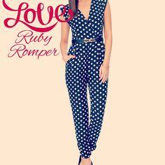 Ruby Romper   Living Doll Cute retro polka dot playsuit online now www.scoutandjem.com.au Living Dolls, Playsuit, Polka Dots, Jumpsuit, Rompers, Retro, Shopping, Dresses, Style