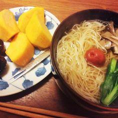 夜食 - 21件のもぐもぐ - 梅にゅうめん、柿とドライプルーン 2014.12.14 by kirahime