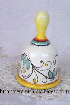 Bell hand painted. Campanella dipinta a mano #Maiolika #Italy http://ceramicamia.blogspot.it/