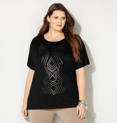 GRAPHIC BANDED PONCHO TOP, Black http://www.avenue.com/