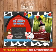 Printable Chalkboard Barn Yard Birthday Photo Invitation | Petting  Zoo | Farm Animals | Cow Print | Boy Birthday Party Idea | DIY | Digital File | FREE Thank You Card Included | Matching Party Package Decor Available |  Banner | Cupcake Toppers | Favor Tag | Food and Drink Labels | Signs |  Candy Bar Wrapper | www.dazzleexpressions.com