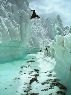 Glacier stream Mountains Northern Pakistan #placestogothingstosee #glacier #mountains