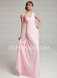 Prom Dresses - $149.99 - Sheath One-Shoulder Floor-Length Chiffon Prom Dress With Ruffle Beading (018004880) http://jjshouse.com/Sheath-One-Shoulder-Floor-Length-Chiffon-Prom-Dress-With-Ruffle-Beading-018004880-g4880