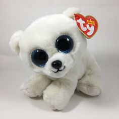 From the Ty Beanie Babies collection. Ty Beanie Boos, Beanie Babies, Ty Stuffed Animals, White Polar Bear, Plush, Lily, Teddy Bear, Dolls, Cute