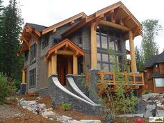 Samuelson Timberframe Design Inc. is a design studio committed to providing innovative custom timber frame design, illustrations & animations, and complete construction drawings for the discerning home owner. Stone Cottages, Cabins And Cottages, Rustic Exterior, Exterior Design, Cabin Homes, Log Homes, Cabana, Future House, My House