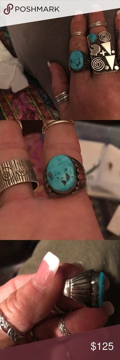 Vintage SS/turquoise Native American ring Vintage Sterling silver signed Native American turquoise Jewelry Rings