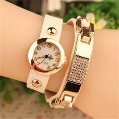 Top moda relógios mulheres liga de ouro Branco
