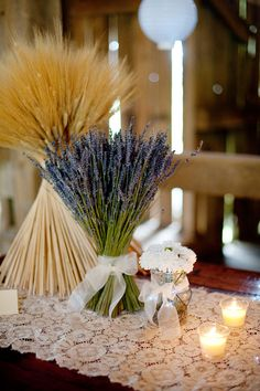 Romantic wedding, lavendar, wheat bundles Color palette: lavender, grey and gold