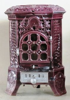 Antique French Stove Co Deville Lily burgundy