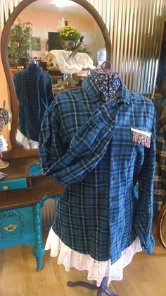 Vintage LL Bean Flannel Shirt With Lace Petticoat Detail Blue Size Large tapered for curvy fit by Liz Stevens Of Panther Creek