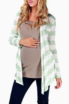 Mint Green Striped Maternity Cardigan
