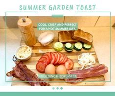 This delicious breakfast, lunch or dinner option is a fantastic way to enjoy the garden goodies. Pork Bacon, Turkey Bacon, Bacon Egg, Eggs In Peppers, Dinner Options, Boiled Eggs, Summer Garden, Summer Recipes, Toast