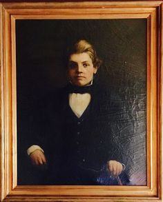 """Antique oil portrait on canvas by artist George Burroughs Torrey, 1926. He was an American painter, best known for his portraits. He has been called 'the painter of presidents' because he painted portraits of Theodore Roosevelt, William H. Taft and Herbert Hoover. 35""""w x 43""""h SOLD"""