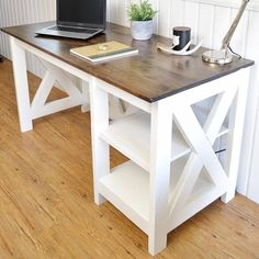 Farmhouse X Desk for the Home Office DIY Farmhouse Desk plans that will make your home office pop! Need an office farmhouse desk to spice up the home office? These DIY Desk Plans will make your office come to life. Diy Office Desk, Diy Desk, Home Office Furniture, Furniture Projects, Furniture Plans, Diy Furniture, Desk Plans Diy, Office Table, White Desk Diy