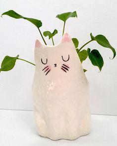 Plantador de cerámica gato interior jardinera / suculentas