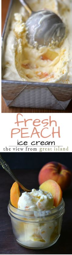 Old Fashioned Peach Buttermilk Ice Cream ~ this is the classic stuff you remember from childhood, made with fresh ripe peaches and a touch of buttermilk for a fabulous old fashioned flavor.