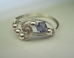 Sterling Silver Wire Wrapped Ring Tanzanite