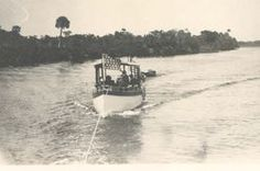 """Thomas Edison's """"The Reliance"""" electric launch on the Caloosahatchee River, early 1900's"""