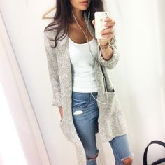 Fashion Light gray cardigan coat Jacket