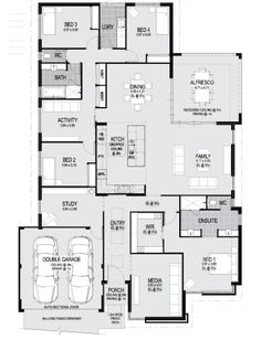 Floor Plan - like office placement, ensuite layout (but add a bath opposite the entry). Best House Plans, Dream House Plans, House Floor Plans, House Plans Australia, I Love House, House Blueprints, New Home Builders, Sims House, Home Design Plans