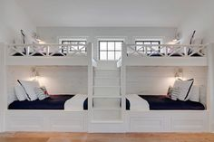 The Chic Technique: Bunk Room. White bunk bed with navy bedding. bunk room features two sets of white built-in bunk beds dressed in navy bedding lined with distressed shiplap flanked by a built-in staircase. Old Seagrove Homes. Bunk Bed Rooms, Bunk Beds Built In, Bedrooms, Bunk Bed Wall, Twin Beds, Double Bunk Beds, White Bunk Beds, Wall Beds, Kids Bunk Beds