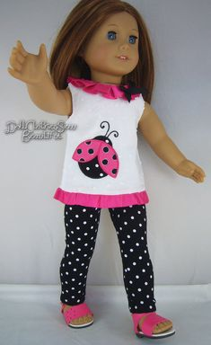 "LADYBUG TUNIC + LEGGINGS made for 18"" American Girl Doll Clothes TOTALLY CUTE!!!"