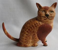 1995 Jane & Walter Gottshall Carved Wood Sitting Cat Kitten #Americana