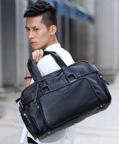 Casual Stylish Man With Black Utilitarian Leather Travel Bag - Front View Sneakers Fashion, Buy Sneakers, Running Shoes For Men, Stylish Men, Leather Working, Travel Bag, Fashion Bags, Leather Bag, Gym Bag
