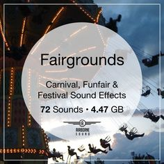 More than 70 fairground sound clips in over 7 gigabytes of audio. Includes crowd, game, and ride sound effects from midways & fun fairs. Fair Rides, Sound Clips, Sound Library, Fun Fair, Carnival Games, Sound Effects, Bingo, Fair Grounds, Libraries