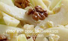 Witlof, blauwe kaas, walnoot & peer salade