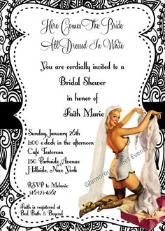 Bridal Shower Invitation Bachlorette Invitation Pin Up Girl Printable-Glamorous Sweet Events. - could easily be changed from Bridal shower to bachlorrette party Bachlorette Invitations, Tea Party Invitations, Bachlorette Party, Vintage Invitations, Bridal Shower Invitations, Bachelorette Ideas, Invites, Retro Bridal Showers, Tea Party Bridal Shower